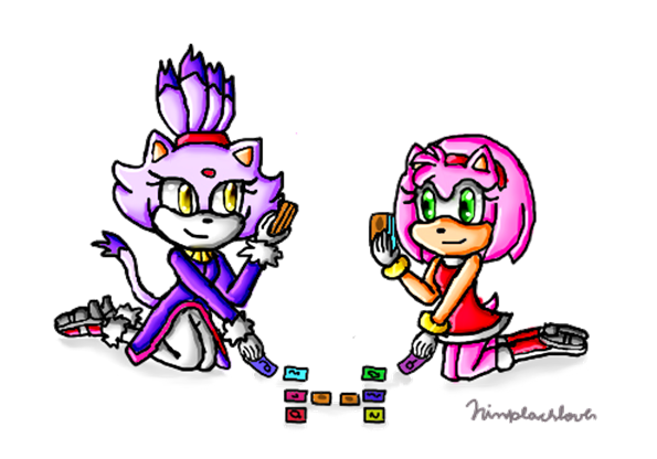 Amy and Blaze playing Yu-gi-oh by ninpeachlover