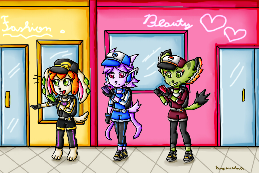 Freedom Planet girls playing Pokemon Go by ninpeachlover