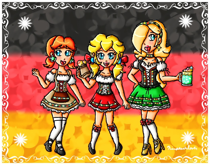 German dirndl princesses by ninpeachlover