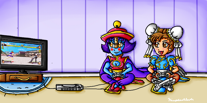 Chun-li and Hsien-ko playing Rival Schools by ninpeachlover