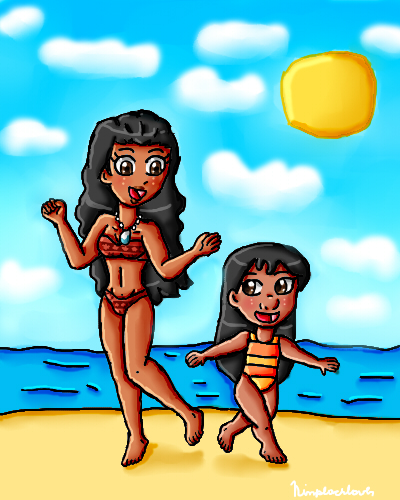 Moana and Lilo swimsuits by ninpeachlover
