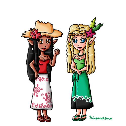 Tatiura and Wailuana by ninpeachlover