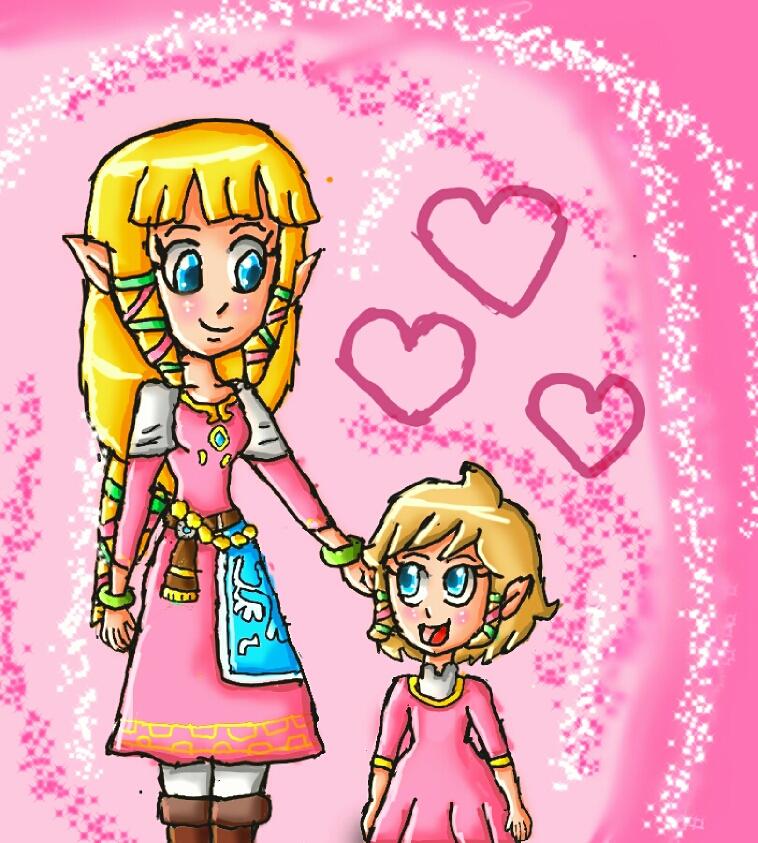 Secret Santa : Zelda and her daughter by ninpeachlover