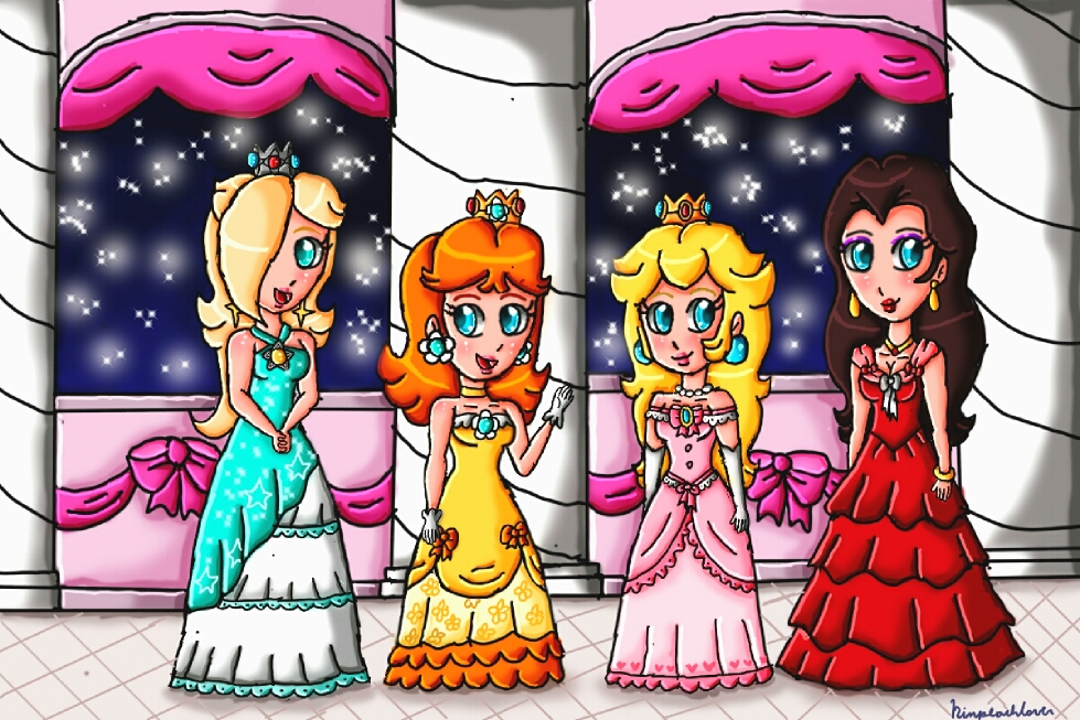 The princesses and the mayor at the ballroom by ninpeachlover
