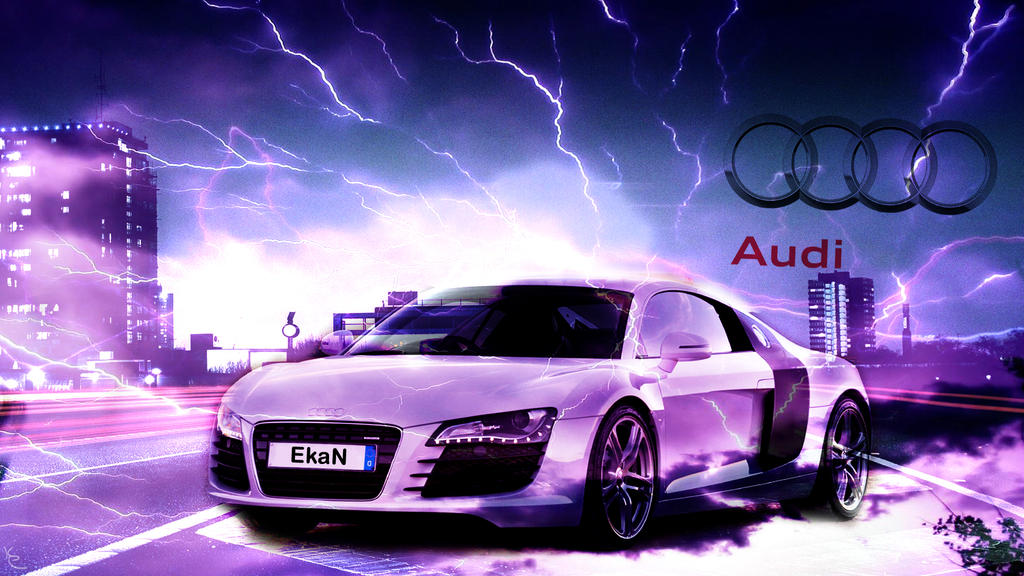 Audi R8 Wallpaper with Lightning by EkaN94 on DeviantArt Cool Audi R Wallpapers on ford gt cool wallpapers, audi r8 cool cars, mclaren p1 cool wallpapers, saleen s7 cool wallpapers, ford mustang cool wallpapers,