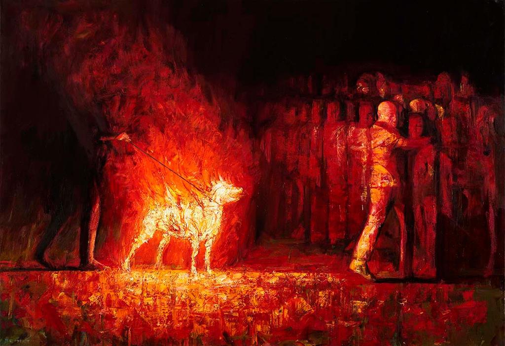Burning dog 2 by SVerykios-Paintings