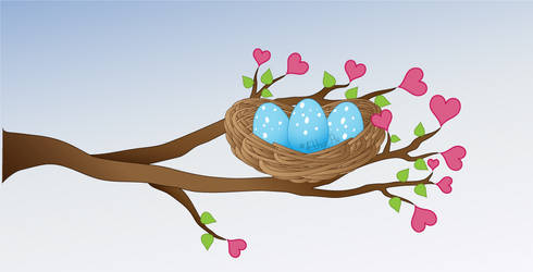 little nest with hearts