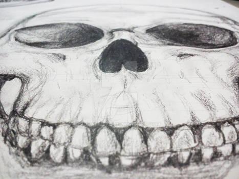 Pencil Drawing Grinning Skull