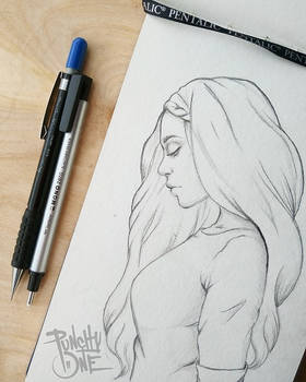 In Thought - Illustration Drawing