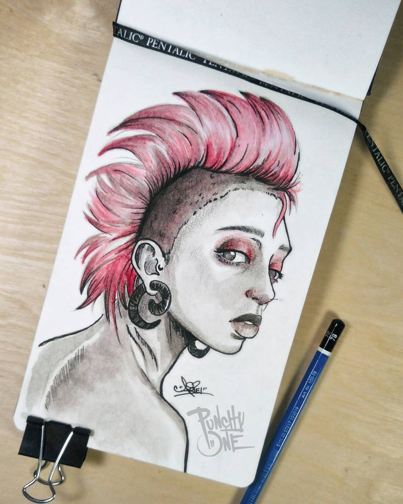 Inktober Shy Watercolor Ink Illustration by punchyone