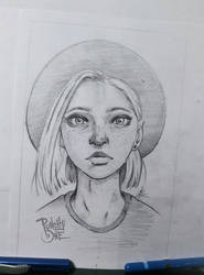 Folk Girl - Sketch Drawing Illustration