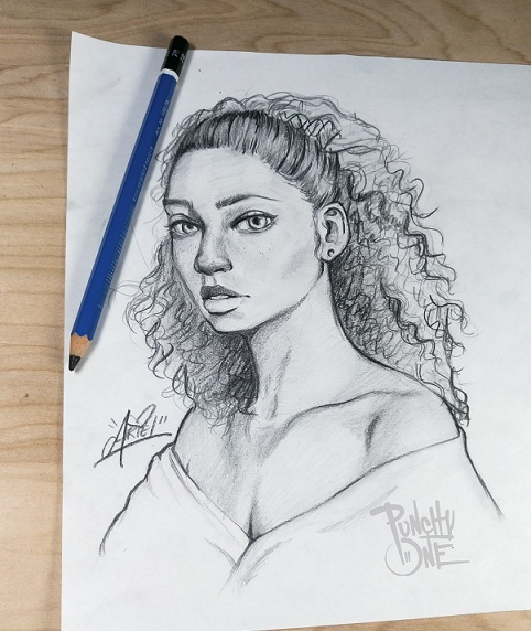 Curly Beauty - Sketch Drawing Illustation