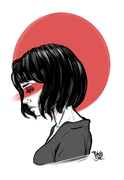 Grave Girl - Digital Illustration by punchyone
