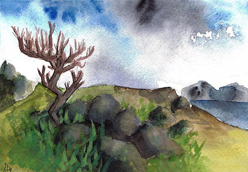 The lonely tree Watercolor