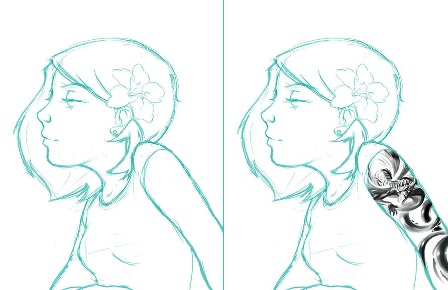 Line Drawing Face Tattoo : Tattoo girl sketch by psdeluxe on deviantart