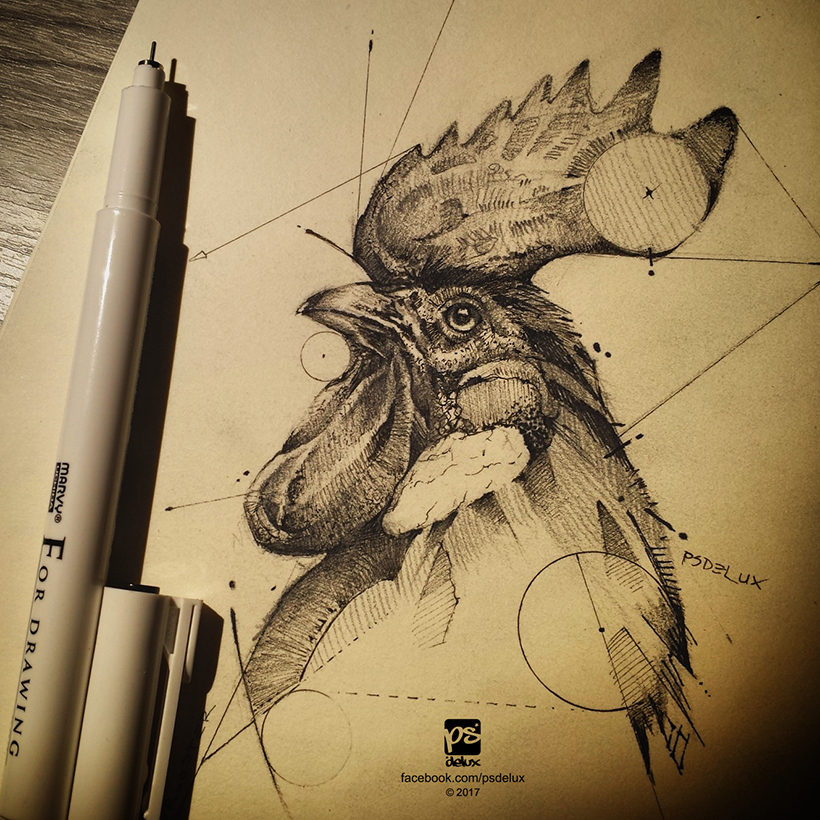 20170218 Rooster Drawing Pselux by psdeluxe