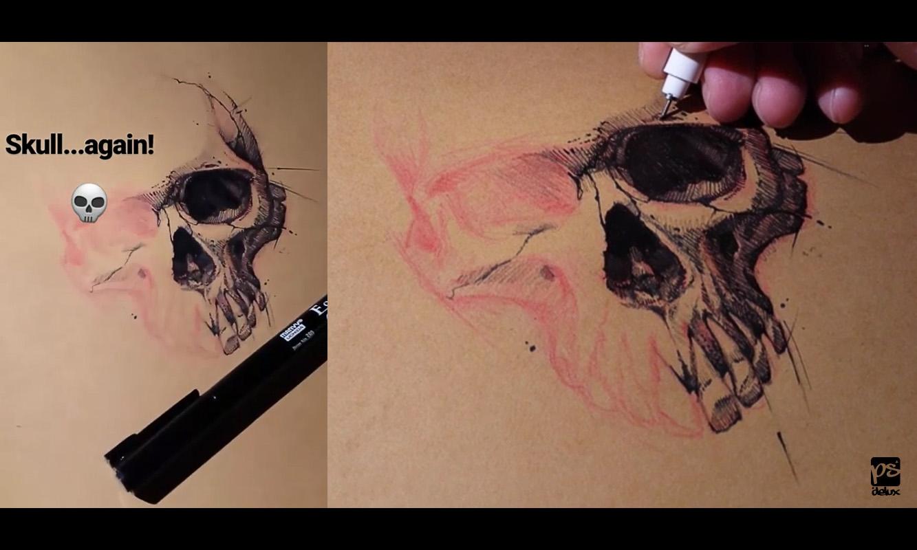 20170420 Skull Sketch Psdelux by psdeluxe