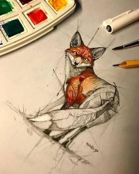 Fox Sketch Watercolor Psdelux