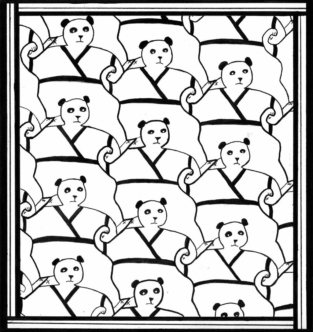 Panda tessellation by rivas j93 on deviantart for Mc escher tessellations coloring pages