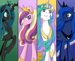 MLP: Queen and Princesses by keterok