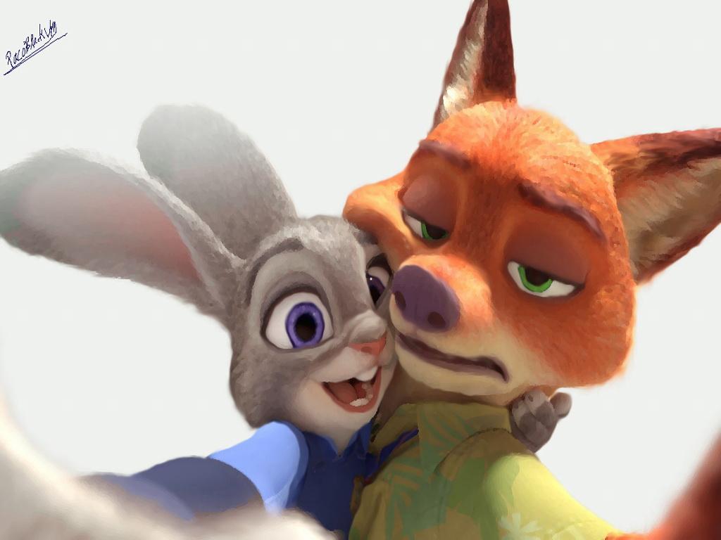 Ausmalbild Nick Und Judy Hopps Aus Zootopia: Judy Hopps And Nick Wilde Selfie (Zootopia) Fanart By