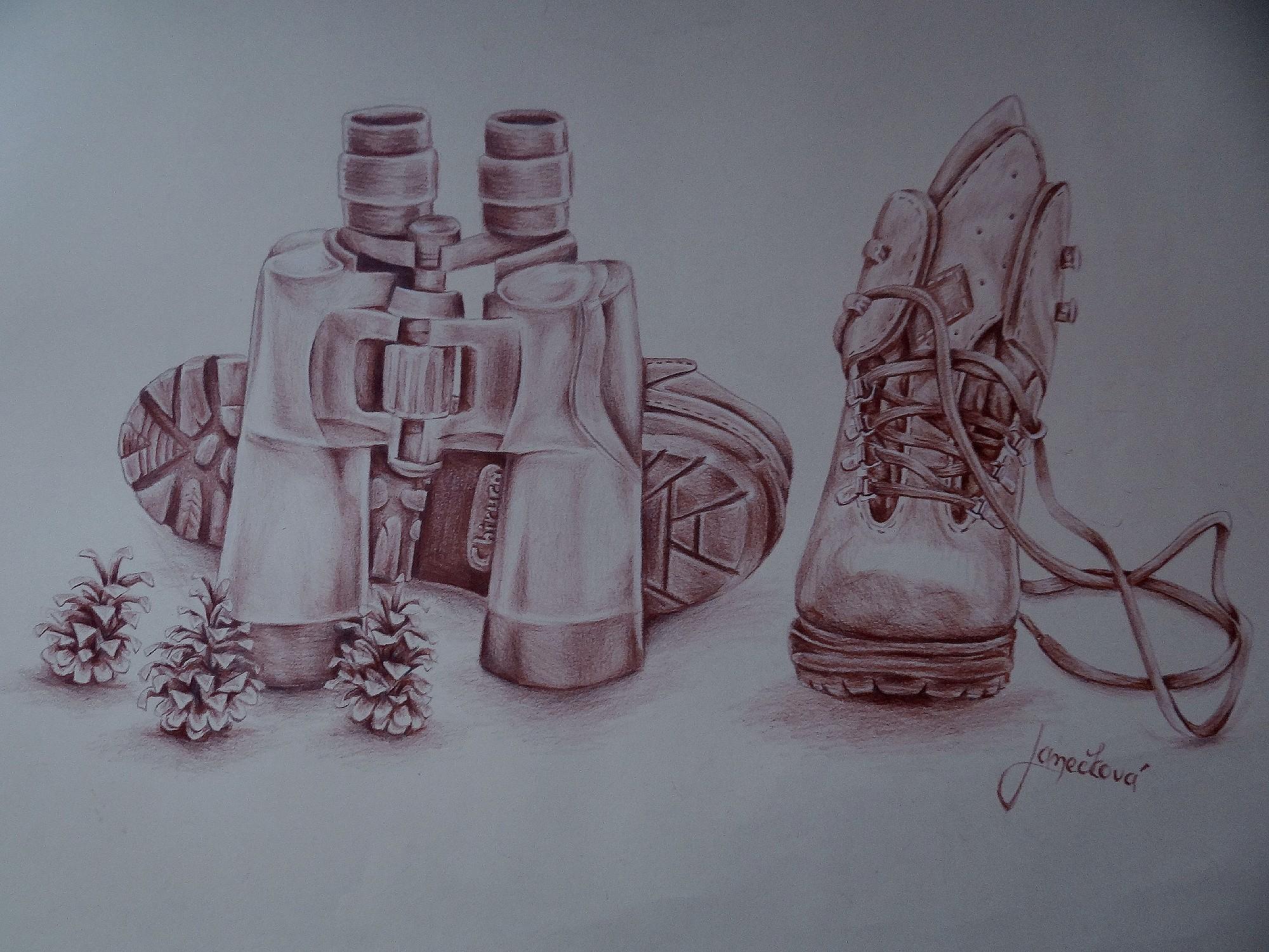 Binoculars, boots and tree cones (school work) by Penetraliaa