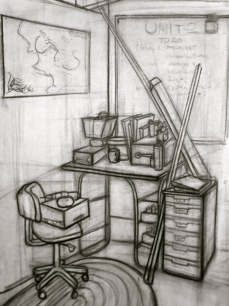 Art Room Drawing: Corner Of A Room: Refining/Finalizing By BonnieWild On