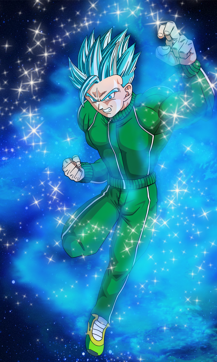 SSGSS Gohan (Super Saiyan Blue) W/Background by EliteSaiyanWarrior