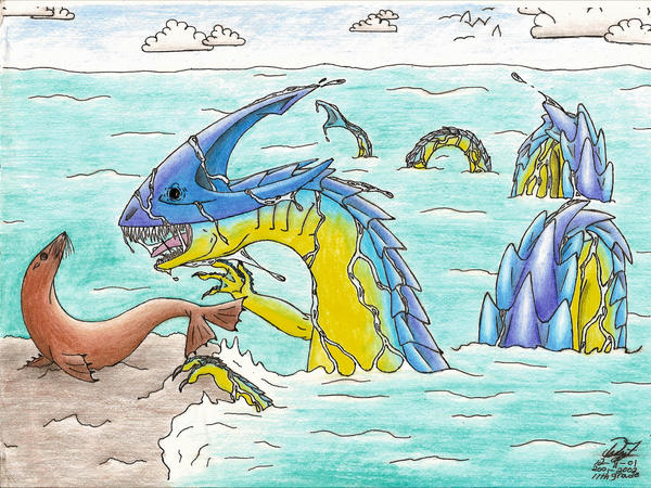 A Sea Dragon and his Lunch by Dizzidragonz