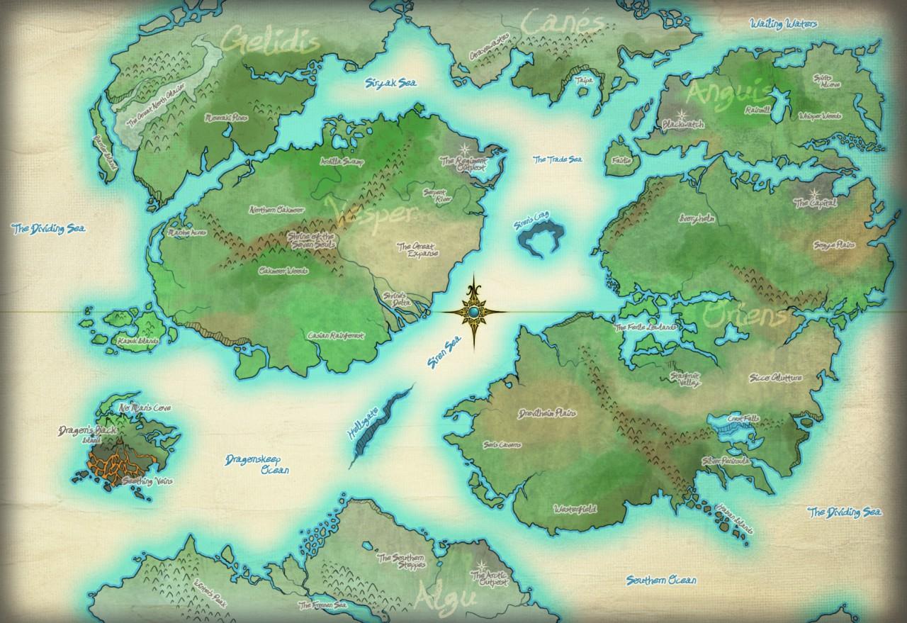 Jo'Arca World Map by CuttleSkulls