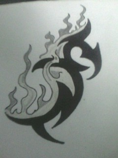 flame tribal design by gbftattoos