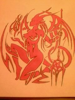 sexy tribal lady devil by gbftattoos