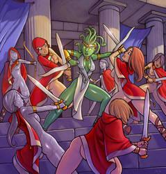 Stheno vs. the Priestesses of Sulis by tyvadi