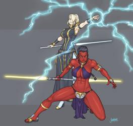 Darth Imperius and her Apprentice Lampade