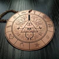 Gravity Falls: Bill Cipher Wheel pendant (again!) by cuestickGenius