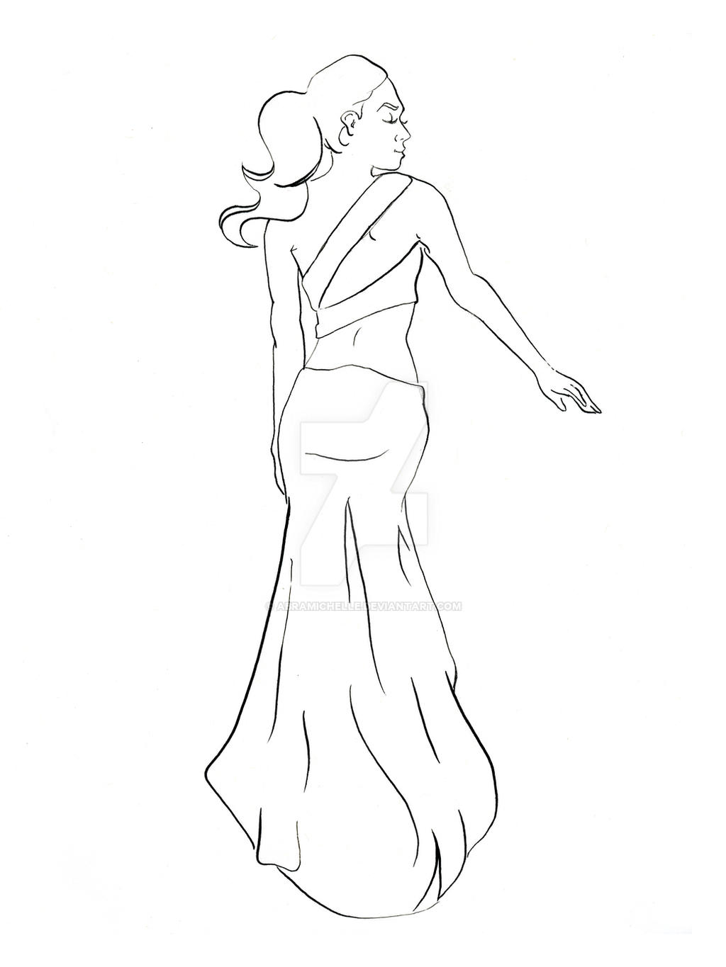 Sexy Back Long Dress Coloring Book Version By AbraMichelle