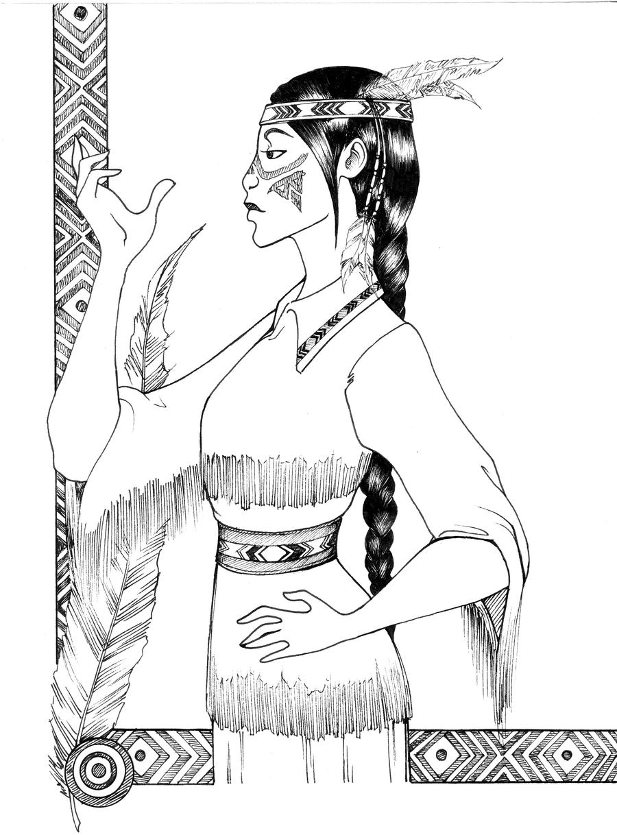American indian tribal girl by shyangell on deviantart for Girl indian coloring pages