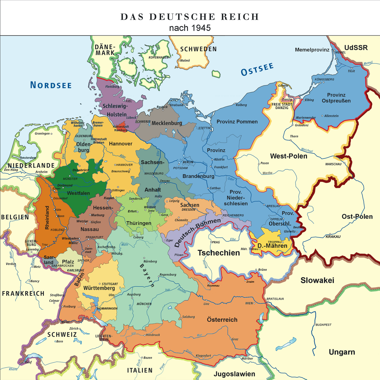 Map of the German Empire 1948 by TiltschMaster on DeviantArt – Divided Germany Map