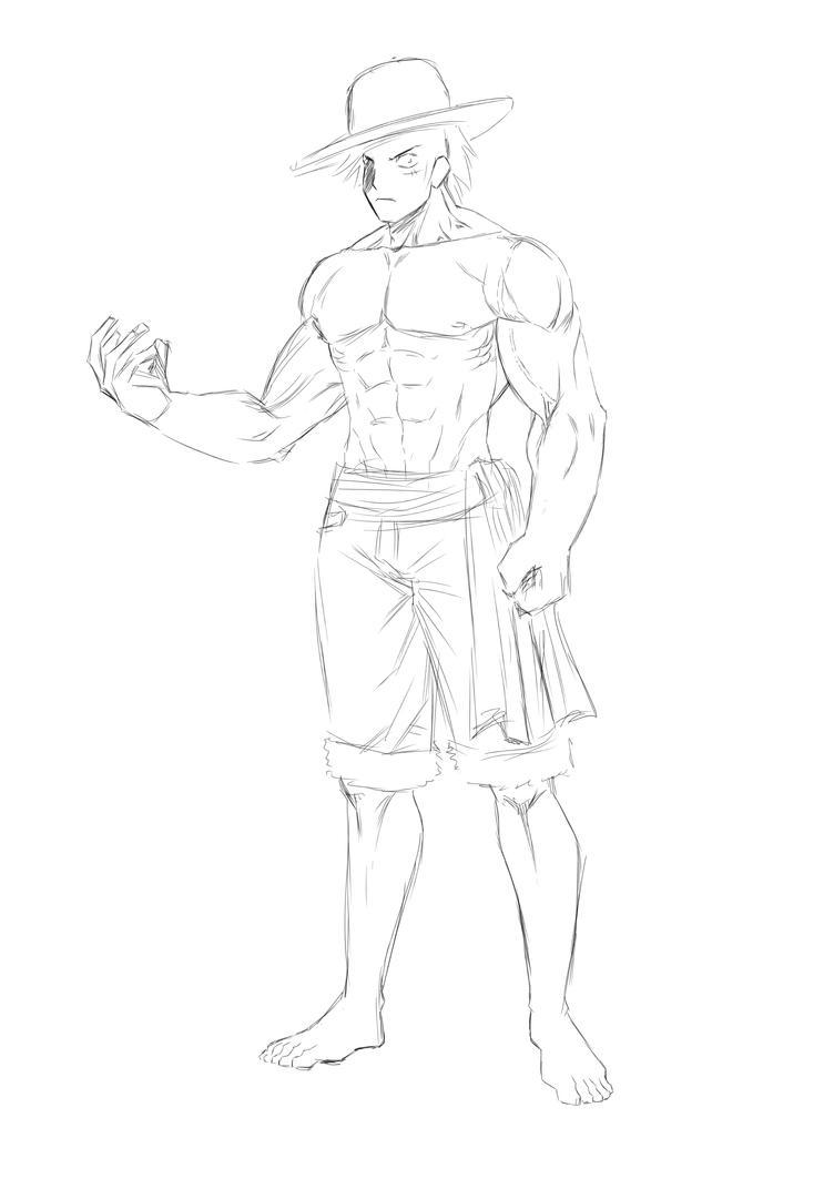 Sketch Monkey de Luffy Muscle by Deyvidson