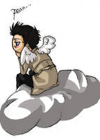 Castiel on a Cloud for PerryA by SnowVi