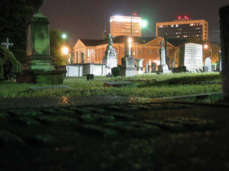 City past the graveyard