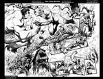 Hulk vs Swamp Thing pgs 4and5 Grey Wash ink test b by Bob-Misfit-Modelski