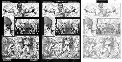 Hulk vs Swamp Thing pg6 Grey Wash progressions by