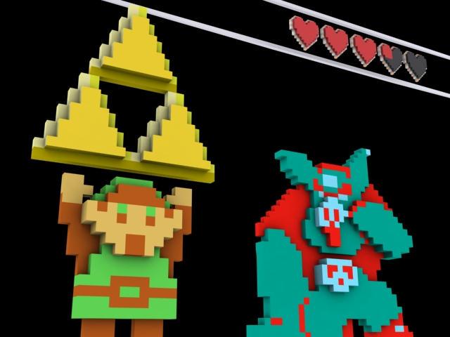 Zelda 3D pixel art by Chanderzz