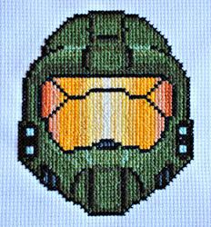 Master Chief Helmet Cross Stitch by LittleSymmetry