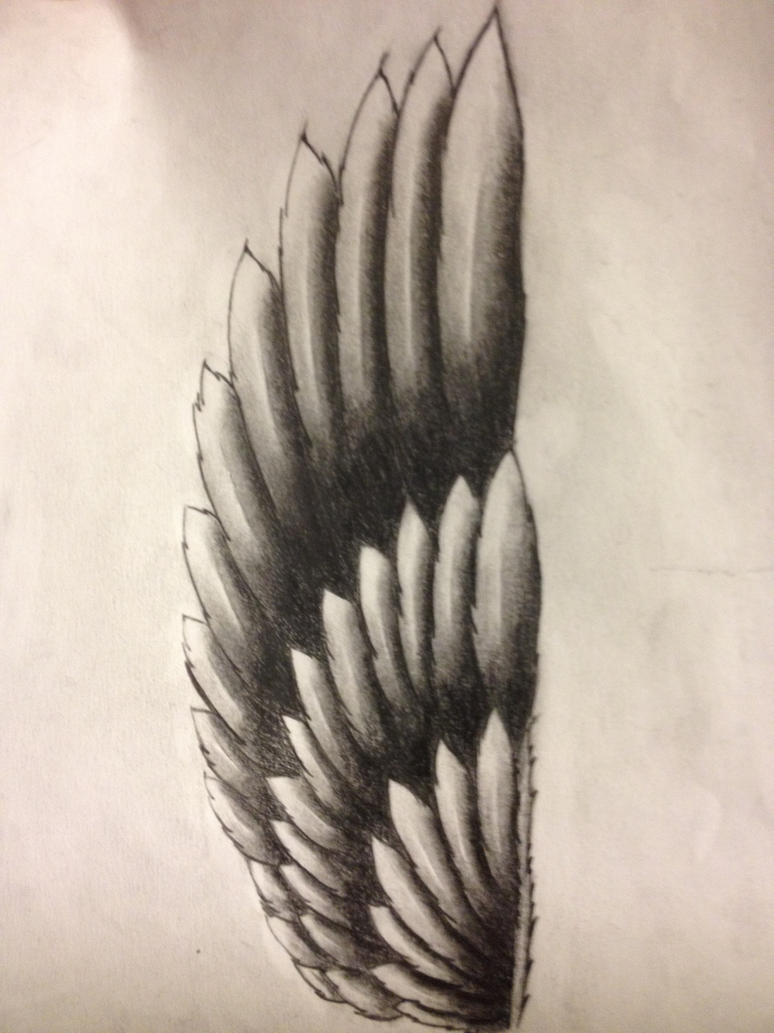 Initial forearm wing tattoo design by itsaruse on deviantart for Wing forearm tattoo