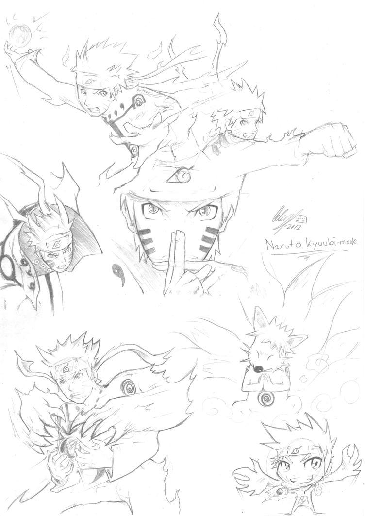 Naruto Sage Mode Kyuubi Drawing