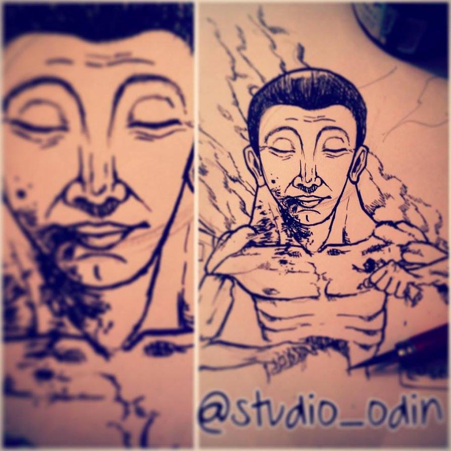 Buddah Titan [Dip pen] by StudioOdin
