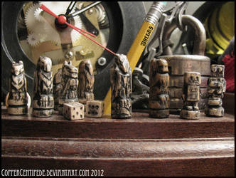 Tiny Wooden Animals and Robots by CopperCentipede