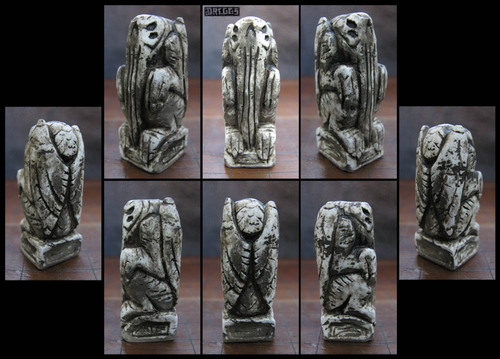 4 Eyed Skull Cthulhu Idol - unearthed bone by CopperCentipede